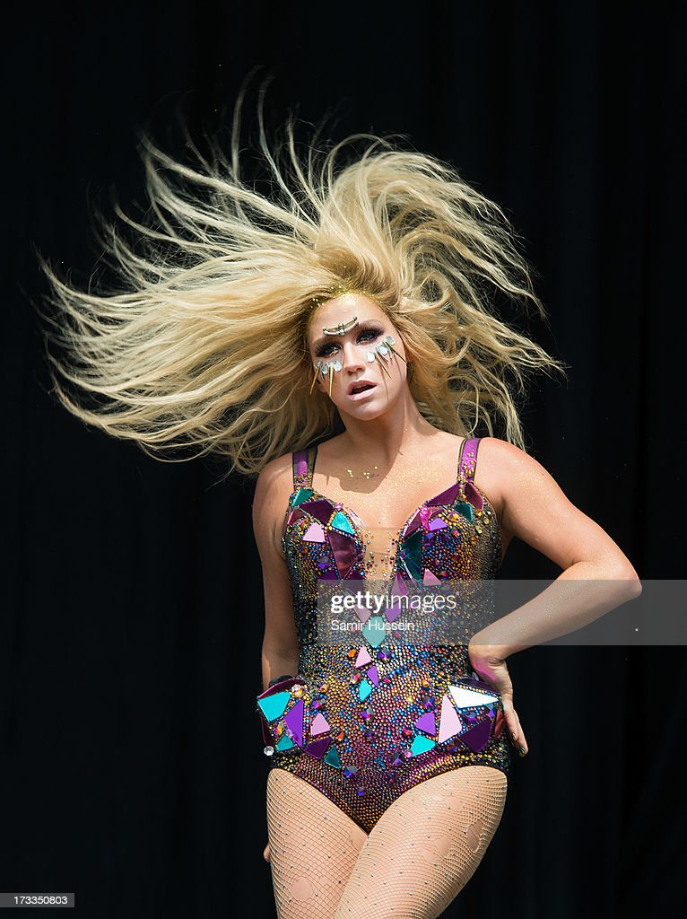 <a gi-track='captionPersonalityLinkClicked' href=/galleries/search?phrase=Ke%24ha&family=editorial&specificpeople=6718222 ng-click='$event.stopPropagation()'>Ke$ha</a> performs on the main stage on day 1 of the Yahoo! Wireless Festival at Queen Elizabeth Olympic Park on July 12, 2013 in London, England.