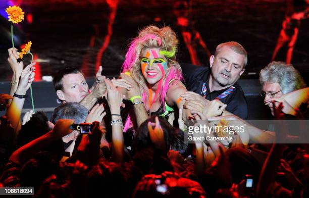 Ke$ha performs onstage during the MTV Europe Music Awards 2010 live show at La Caja Magica on November 7 2010 in Madrid Spain
