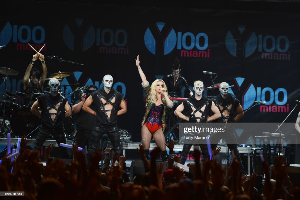 Ke$ha performs onstage during the Y100's Jingle Ball 2012 at the BB&T Center on December 8, 2012 in Miami.