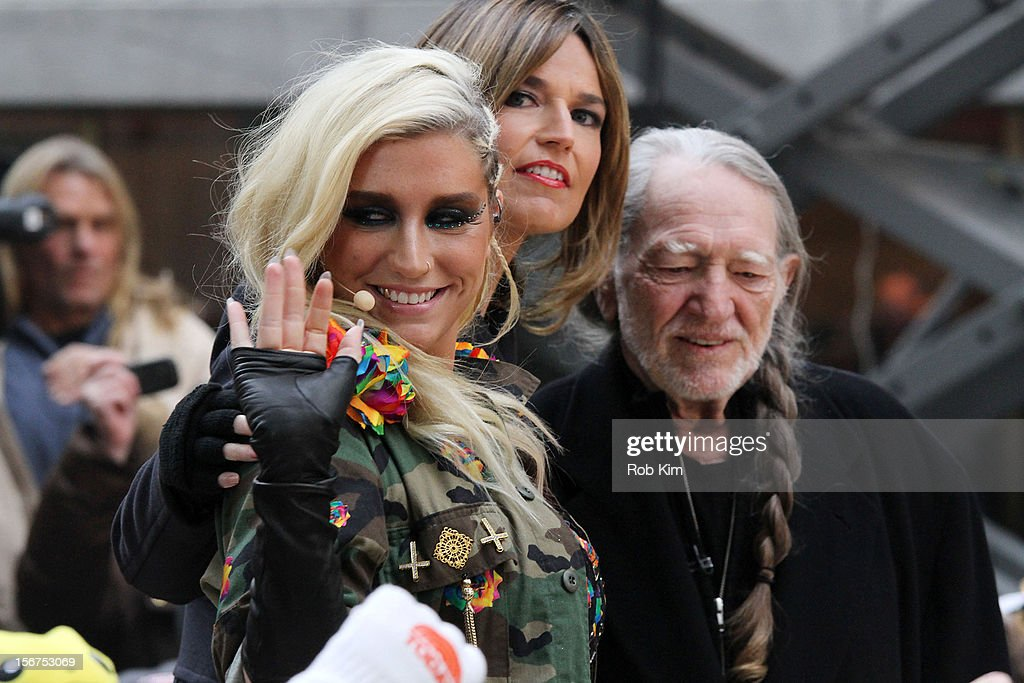 Ke$ha, Savannah Guthrie and Willie Nelson on NBC's 'Today' at Rockefeller Plaza on November 20, 2012 in New York City.