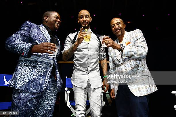 Kehinde Wiley Swizz Beatz and Kevin Liles attend the GREY GOOSE Le Melon Toast to Musician Swizz Beatz with art commissioned by award winning artist...