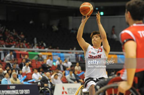 Kei Akita of Japan shoots during the Wheelchair Basketball World Challenge Cup third place match between Turkey and Japan at the Tokyo Metropolitan...