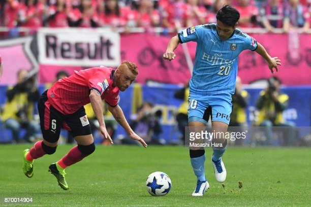 Kei Chinen of Kawasaki Frontale in action during the JLeague Levain Cup final match between Cerezo Osaka and Kawasaki Frontale at Saitama Stadium on...