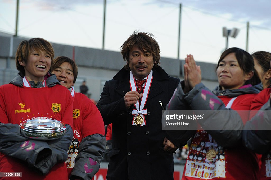 Kei Hoshikawa,coach of INAC Kobe Leonessa looks on after the 34th Empress's Cup All Japan Women's Football Tournament final match between INAC Kobe Leonessa and JEF United Chiba Ladies at Nack 5 Stadium Omiya on December 24, 2012 in Saitama, Japan.