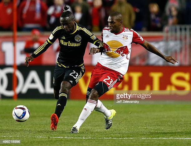 Kei Kamara of Columbus Crew fights for the ball with Ronald Zubar of New York Red Bulls during their match at Red Bull Arena on November 29 2015 in...