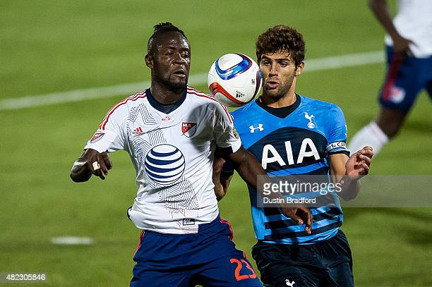 Kei Kamara of MLS AllStars works against Federico Fazio of Tottenham Hotspur during the 2015 ATT Major League Soccer AllStar game at Dick's Sporting...