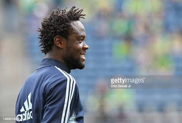 Kei Kamara of Sporting Kansas City looks on prior to the match against the Seattle Sounders at CenturyLink Field on June 20 2012 in Seattle Washington