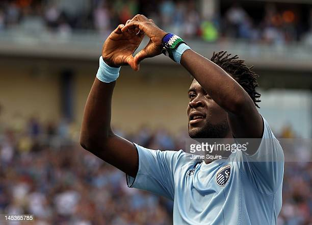 Kei Kamara of Sporting KC celebrates after scoring during the game against the San Jose Earthquakes on May 27 2012 at Livestrong Sporting Park in...