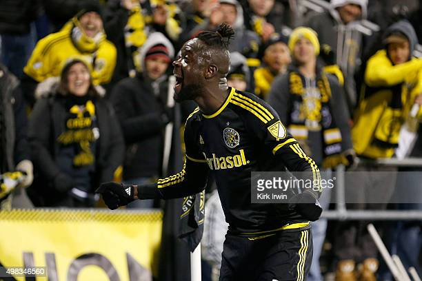 Kei Kamara of the Columbus Crew SC celebrates after defeating the New York Red Bulls 20 on November 22 2015 at MAPFRE Stadium in Columbus Ohio
