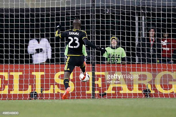 Kei Kamara of the Columbus Crew SC scores a goal during the second half of the match against the New York Red Bulls on November 22 2015 at MAPFRE...