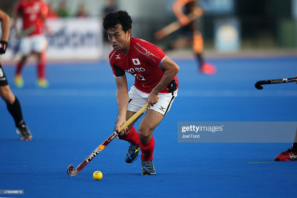 Kei Kawakami of Japan runs with the ball during the Test Match between the New Zealand Black Sticks and Japan at Blake Park on March 12, 2014 in Mount Maunganui, New Zealand.