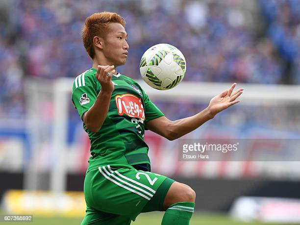 Kei Koizumi of Albirex Niigata in action during the JLeague match between Yokohama FMarinos and Albirex Niigata at the Nissan Stadium on September 17...