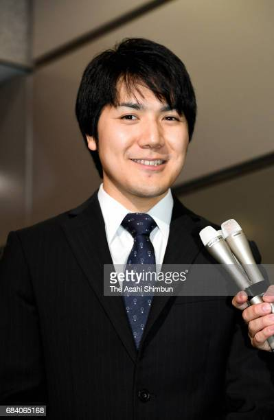 Kei Komuro Princess Mako's fiancetobe speaks to media reporter at his workplace on May 17 2017 in Tokyo Japan Shinichiro Yamamoto grand steward of...