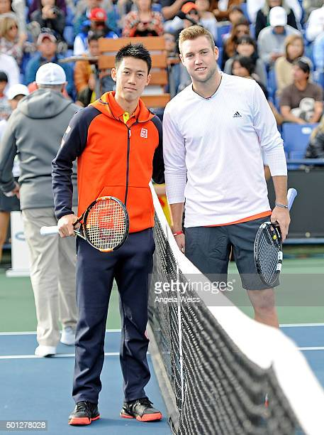 Kei Nishikori and Jack Sock at the Maria Sharapova and Friends tennis event presented by Porsche on December 13 2015 in Los Angeles California