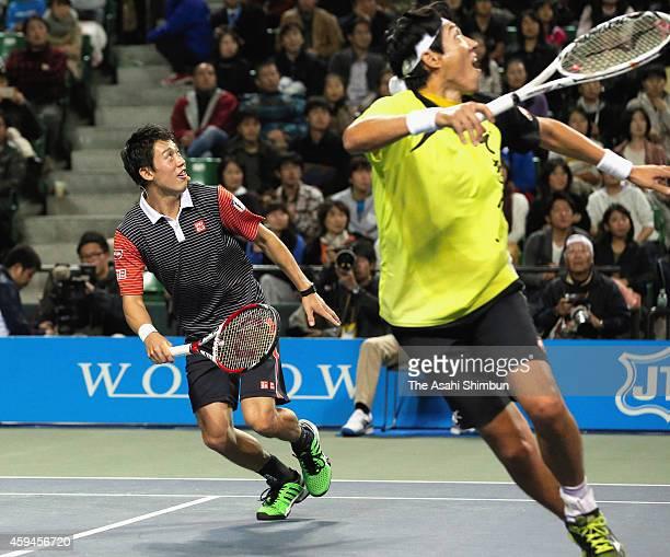 Kei Nishikori and Shuzo Matsuoka compete during the Dream Tennis exhibition match at Ariake Colosseum on November 22 2014 in Tokyo Japan