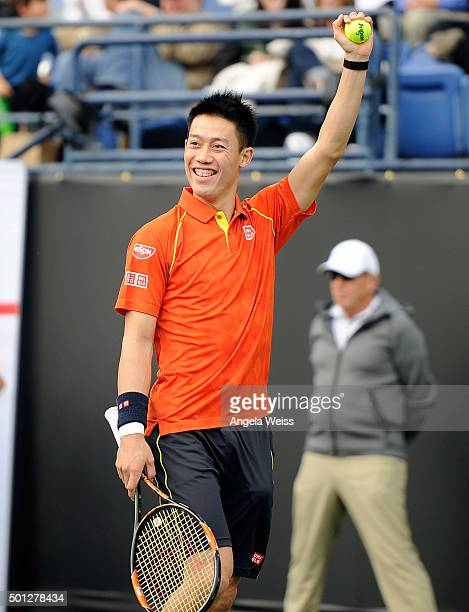 Kei Nishikori attends the Maria Sharapova and Friends tennis event presented by Porsche on December 13 2015 in Los Angeles California