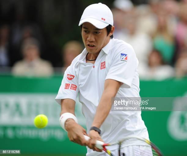 Kei Nishikori during the BNP Paribas Tennis Classic at the Hurlingham Club London