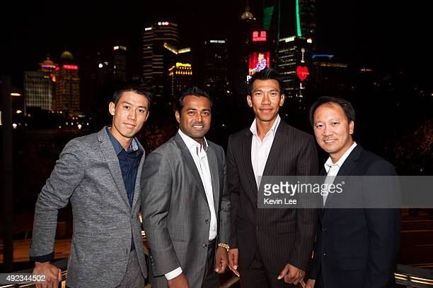Kei Nishikori Leander Paes Pasadora Srichapan and Michael Chang pose for a picture at an ATP event on October 12 2015 in Shanghai China