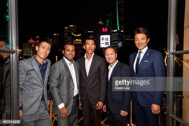 Kei Nishikori Leander Paes Pasadora Srichapan Michael Chang and Shuzo Matsuoka poses for a picture at an ATP event on October 12 2015 in Shanghai...