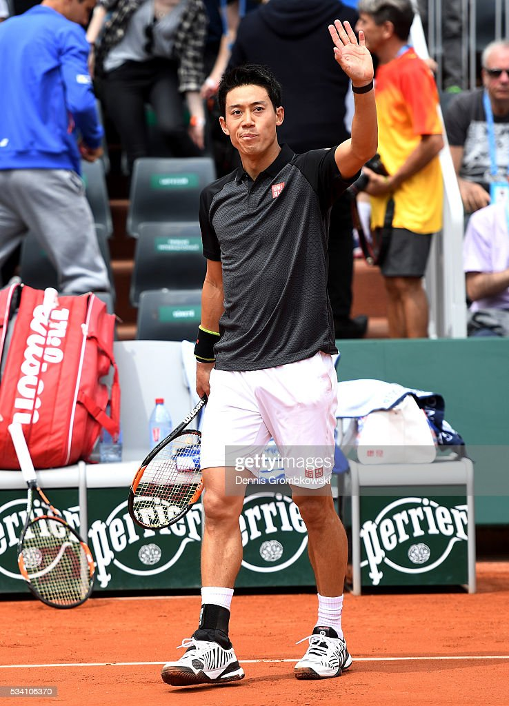 <a gi-track='captionPersonalityLinkClicked' href=/galleries/search?phrase=Kei+Nishikori&family=editorial&specificpeople=4432498 ng-click='$event.stopPropagation()'>Kei Nishikori</a> of Japan acknowledges the crowd following victory during the Men's Singles second round match against Andrey Kuznetsov of Russia at Roland Garros on May 25, 2016 in Paris, France.