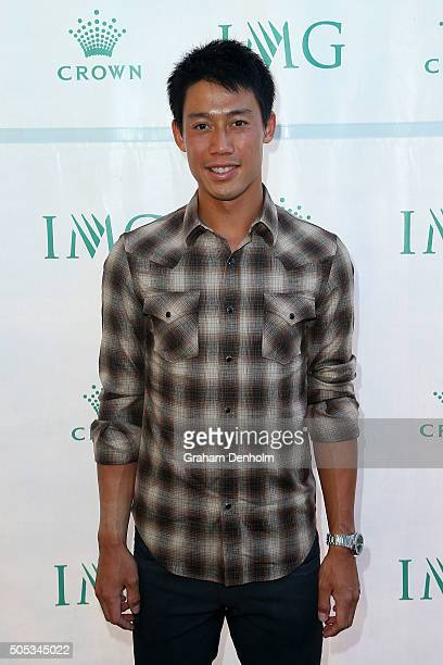 Kei Nishikori of Japan arrives at the 2016 Australian Open party at Crown Entertainment Complex on January 17 2016 in Melbourne Australia