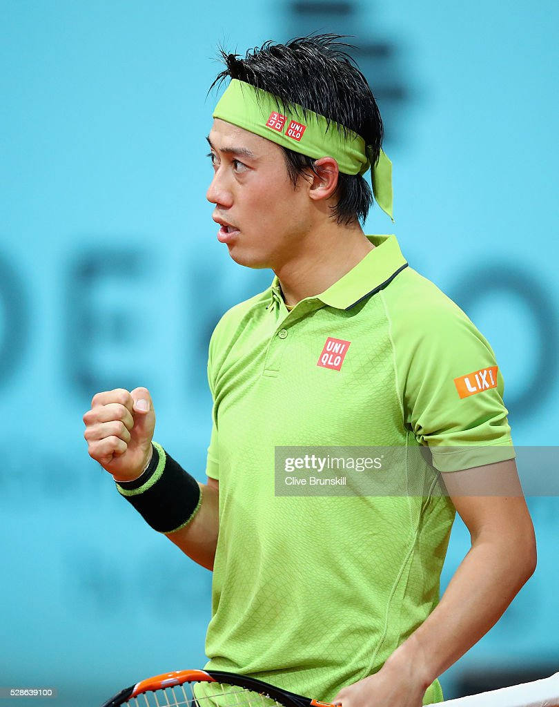 <a gi-track='captionPersonalityLinkClicked' href=/galleries/search?phrase=Kei+Nishikori&family=editorial&specificpeople=4432498 ng-click='$event.stopPropagation()'>Kei Nishikori</a> of Japan celebrates a point against Nick Kyrgios of Australia in their quarter final round match during day seven of the Mutua Madrid Open tennis tournament at the Caja Magica on May 06, 2016 in Madrid,Spain.