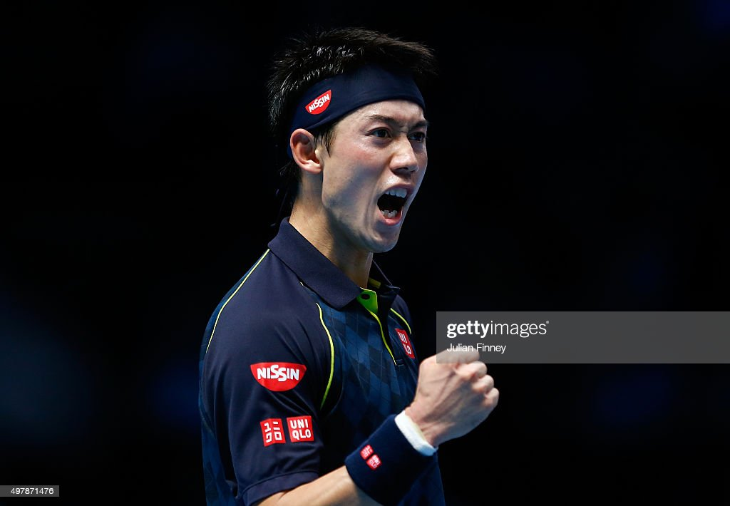 Kei Nishikori of Japan celebrates a point during his men's singles match against Roger Federer of Switzerland during day five of the Barclays ATP World Tour Finals at the O2 Arena on November 19, 2015 in London, England.