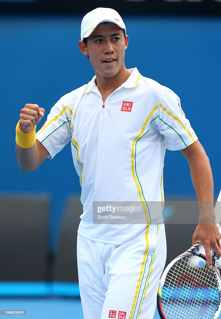 Kei Nishikori of Japan celebrates a point in his third round match against Evgeny Donskoy of Russia during day five of the 2013 Australian Open at Melbourne Park on January 18, 2013 in Melbourne, Australia.