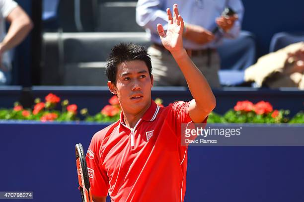 Kei Nishikori of Japan celebrates after defeating Santiago Giraldo of Colombia during day four of the Barcelona Open Bac Sabadell at the Real Club de...