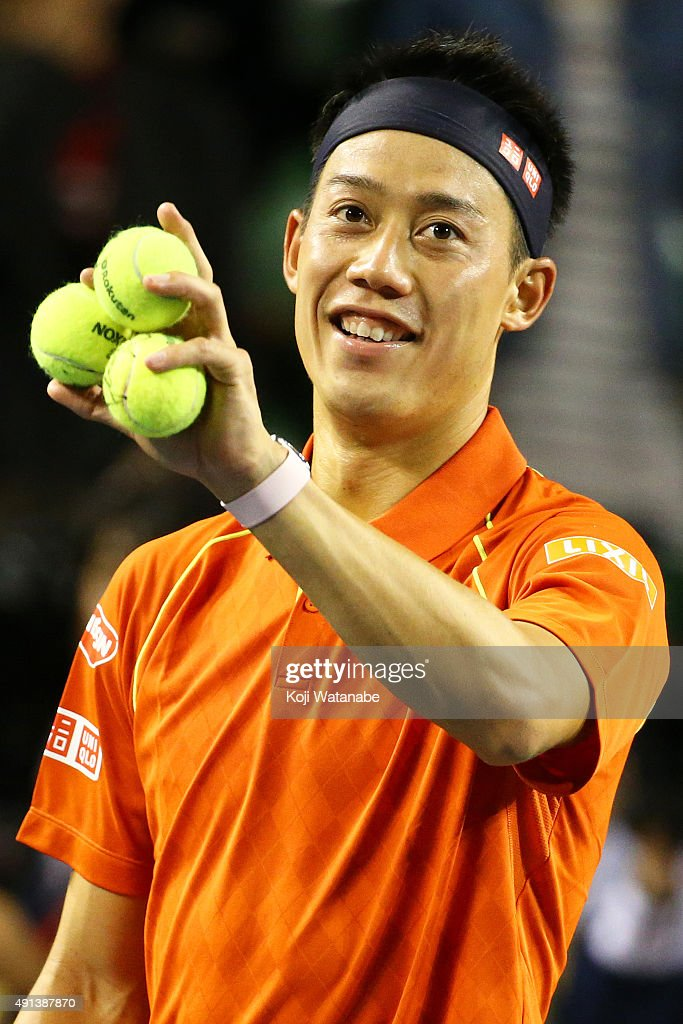 <a gi-track='captionPersonalityLinkClicked' href=/galleries/search?phrase=Kei+Nishikori&family=editorial&specificpeople=4432498 ng-click='$event.stopPropagation()'>Kei Nishikori</a> of Japan celebrates after winning the men's singles first round match against Borna Coric of Croatia on day one of Rakuten Open 2015 at Ariake Colosseum on October 5, 2015 in Tokyo, Japan.