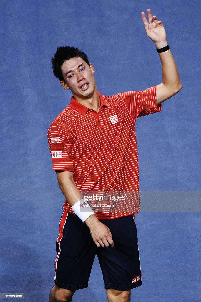 Kei Nishikori of Japan celebrates as crying after winning the men's singles final match against Milos Raonic of Canada on day seven of Rakuten Open 2014 at Ariake Colosseum on October 5, 2014 in Tokyo, Japan.