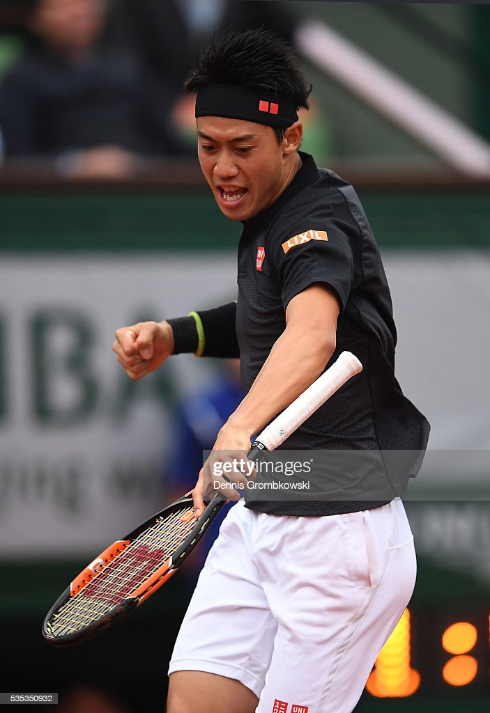 <a gi-track='captionPersonalityLinkClicked' href=/galleries/search?phrase=Kei+Nishikori&family=editorial&specificpeople=4432498 ng-click='$event.stopPropagation()'>Kei Nishikori</a> of Japan celebrates during the Mens Singles fourth round match against Richard Gasquet of France on day eight of the 2016 French Open at Roland Garros on May 29, 2016 in Paris, France.