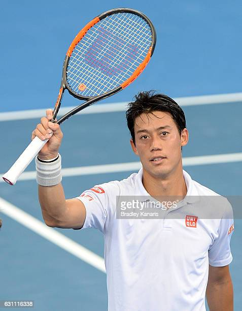 Kei Nishikori of Japan celebrates victory against Stan Wawrinka of Switzerland after their semi final match on day seven of the 2017 Brisbane...
