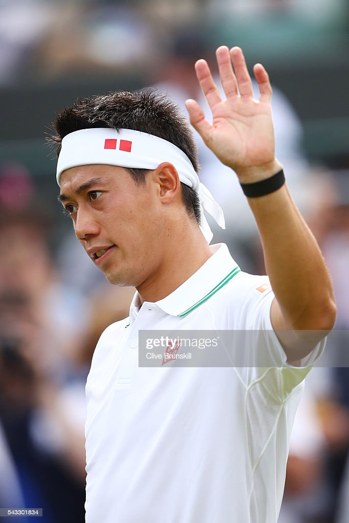 <a gi-track='captionPersonalityLinkClicked' href=/galleries/search?phrase=Kei+Nishikori&family=editorial&specificpeople=4432498 ng-click='$event.stopPropagation()'>Kei Nishikori</a> of Japan celebrates victory during the Men's Singles first round against Sam Groth of Australia on day one of the Wimbledon Lawn Tennis Championships at the All England Lawn Tennis and Croquet Club on June 27th, 2016 in London, England.