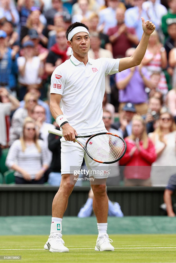<a gi-track='captionPersonalityLinkClicked' href=/galleries/search?phrase=Kei+Nishikori&family=editorial&specificpeople=4432498 ng-click='$event.stopPropagation()'>Kei Nishikori</a> of Japan celebrates victory during the Men's Singles second round match against Julien Benneteau of France on day four of the Wimbledon Lawn Tennis Championships at the All England Lawn Tennis and Croquet Club on June 30, 2016 in London, England.