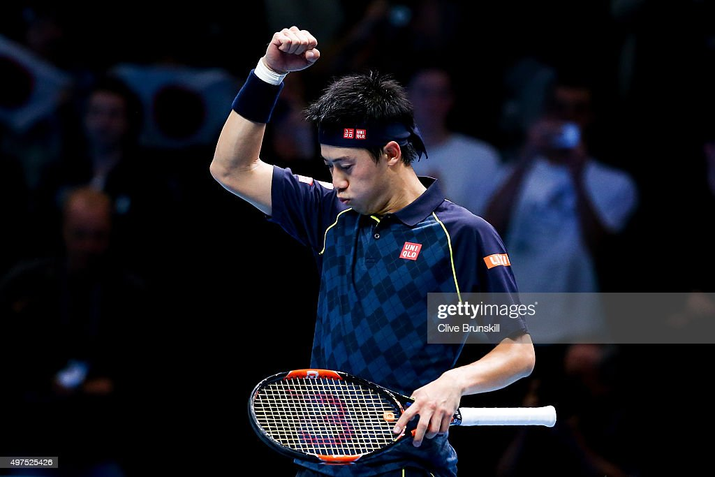 <a gi-track='captionPersonalityLinkClicked' href=/galleries/search?phrase=Kei+Nishikori&family=editorial&specificpeople=4432498 ng-click='$event.stopPropagation()'>Kei Nishikori</a> of Japan celebrates victory in his men's singles match against Tomas Berdych of Czech Republic during day three of the Barclays ATP World Tour Finals at the O2 Arena on November 17, 2015 in London, England.