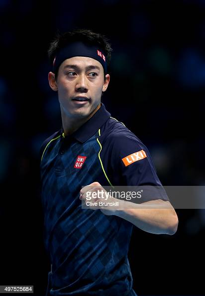 Kei Nishikori of Japan celebrates victory in his men's singles match against Tomas Berdych of Czech Republic during day three of the Barclays ATP...