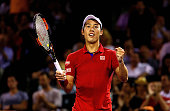 Kei Nishikori of Japan celebrates winning a semifinal match against Nick Kyrgios of Australia during Day 12 of the Miami Open presented by Itau at...