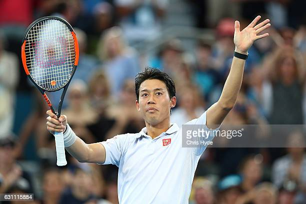 Kei Nishikori of Japan celebrates winning his semi final match against Stan Wawrinka of Switzerland during day seven of the 2017 Brisbane...