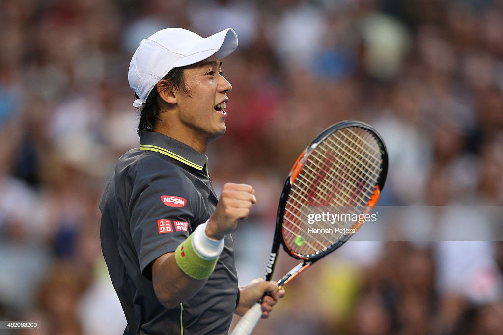 <a gi-track='captionPersonalityLinkClicked' href=/galleries/search?phrase=Kei+Nishikori&family=editorial&specificpeople=4432498 ng-click='$event.stopPropagation()'>Kei Nishikori</a> of Japan celebrates winning his third round match against Steve Johnson of the United States during day six of the 2015 Australian Open at Melbourne Park on January 24, 2015 in Melbourne, Australia.