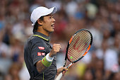 Kei Nishikori of Japan celebrates winning his third round match against Steve Johnson of the United States during day six of the 2015 Australian Open...