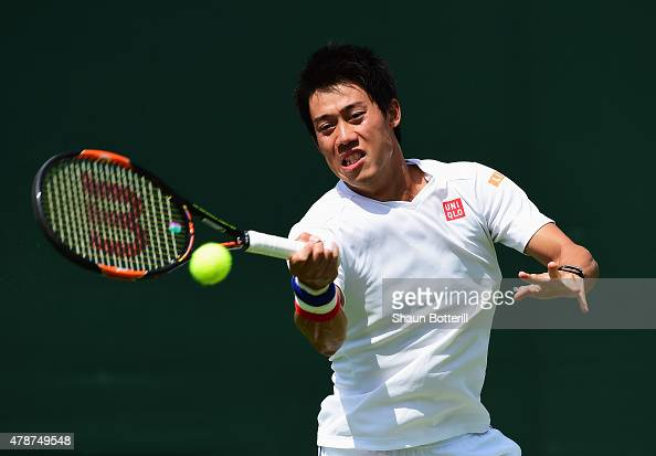 Kei Nishikori of Japan during a pratice session prior to the Wimbledon Lawn Tennis Championships at the All England Lawn Tennis and Croquet Club on...