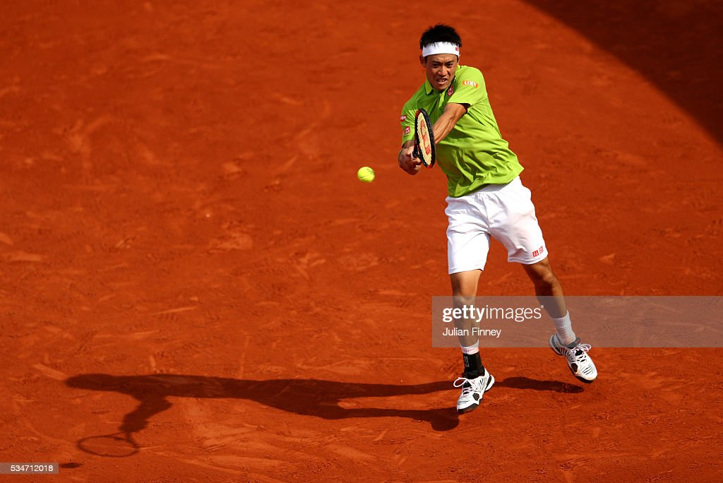 <a gi-track='captionPersonalityLinkClicked' href=/galleries/search?phrase=Kei+Nishikori&family=editorial&specificpeople=4432498 ng-click='$event.stopPropagation()'>Kei Nishikori</a> of Japan hits a backhand during the Men's Singles third round match against Fernando Verdasco of Spain on day six of the 2016 French Open at Roland Garros on May 27, 2016 in Paris, France.