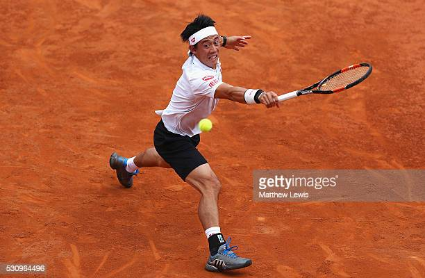 Kei Nishikori of Japan in actino against Richard Gasquet of France during day five of The Internazionali BNL d'Italia 2016 on May 12 2016 in Rome...