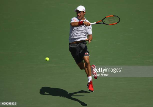 Kei Nishikori of Japan in action against Federico Delbonis of Argentina at Crandon Park Tennis Center on March 28 2017 in Key Biscayne Florida