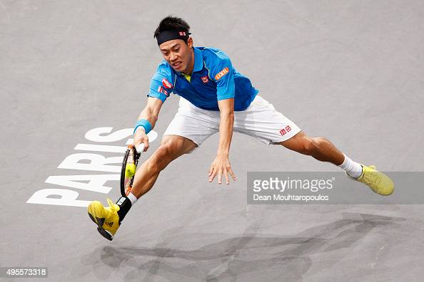 Kei Nishikori of Japan in action against Jeremy Chardy of France during Day 3 of the BNP Paribas Masters held at AccorHotels Arena on November 4 2015...