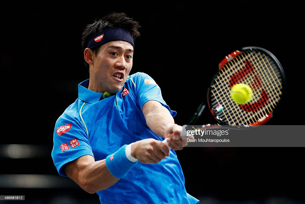 <a gi-track='captionPersonalityLinkClicked' href=/galleries/search?phrase=Kei+Nishikori&family=editorial&specificpeople=4432498 ng-click='$event.stopPropagation()'>Kei Nishikori</a> of Japan in action against Jeremy Chardy of France during Day 3 of the BNP Paribas Masters held at AccorHotels Arena on November 4, 2015 in Paris, France.