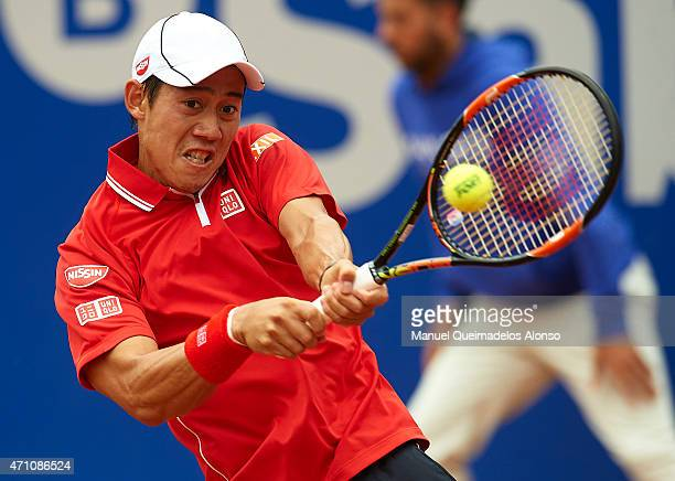 Kei Nishikori of Japan in action against Martin Klizan of Slovakia during day six of the Barcelona Open Banc Sabadell at the Real Club de Tenis...