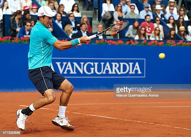 Kei Nishikori of Japan in action against Pablo Andujar of Spain in the final during day seven of the Barcelona Open Banc Sabadell at the Real Club de...