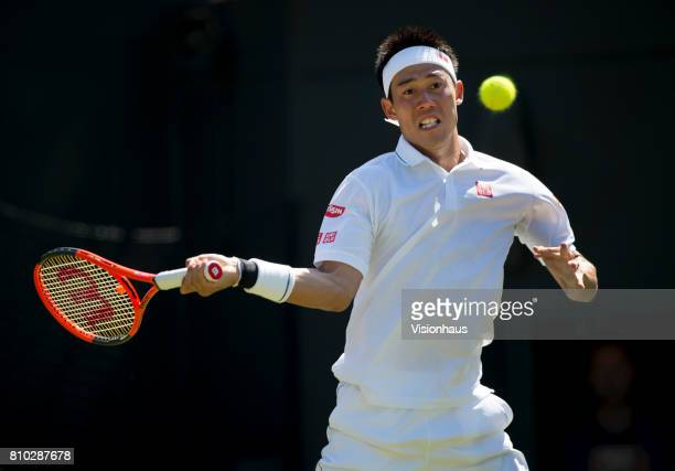 Kei Nishikori of Japan in action against Sergiy Stakhovsky of Ukraine on day three of the Wimbledon Lawn Tennis Championships at the All England Lawn...